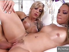 Busty TS Nina Lawless fucked pretty slut Ashley Luvbug