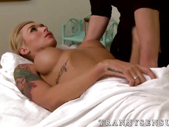 Big titted tranny Aubrey Kate loves a massage and a big cock