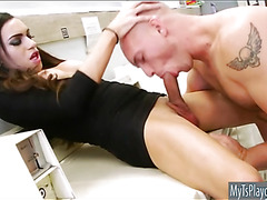 Sexy shemale Madison Montag ass rammed in laundry area