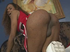 Ebony tranny Becca gets her ass pounded on the couch