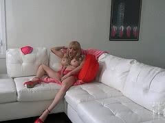 Valentine Jesse strokes her monster cock