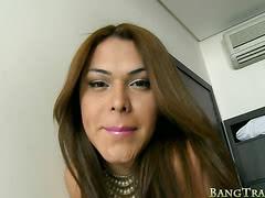 Seductive big tits shemale Agatha Trajano screwed in her ass