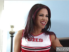 Cheerleader tranny deepthroats and gets her asshole pounded