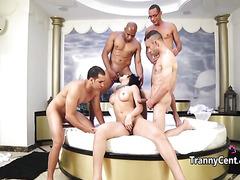 Cute tgirl gangbanged by four cocks
