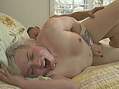 Blonde shemale Miss Jane Starr takes cock in her asshole