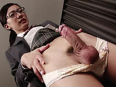 Big hard Japanese tgirl gets a blowjob