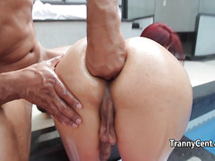 Redhead tranny nailed by big cock