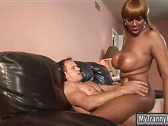 Big boobs ebony shemale Paris Pirelli gets asshole screwed