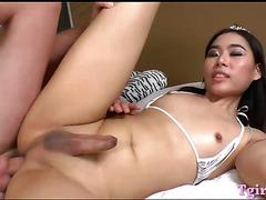 Hot ladyboy Yuki A gets anal rammed hard by naughty dude