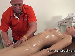 Venus fucks Christian on the massage table