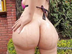 Latina shemale sucking cock outdoor