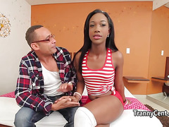 Ebony shemale got spunk on her ass