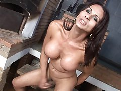 Sexy brunette plays with her mighty meat