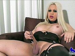 Blonde fat shemale jerking off