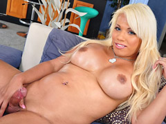 Very hot blonde tranny is new in town and shows off her dick