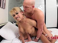 Nice blonde ladyboy enjoy raw fucking