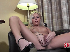 Blonde shemale cuttie makes her cock hard