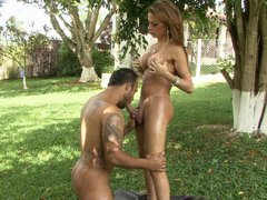 Cocky ladyboy strips naked aching to drill a guy�s asshole right outdoors
