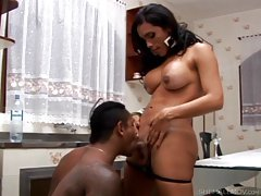 Black brother sucks on a tgirl shecock