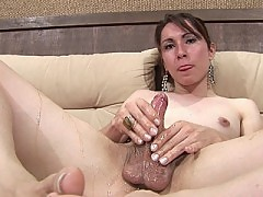 Brunette shemale loves her honey coated meatstick