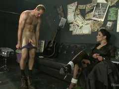Hung shemale in sexy stockings assfucks male