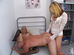 Blond honey sucks on a thick shecock