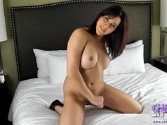 Transsexual Valerie stroking off her juicy dick