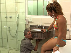 Horny shemale fucked by the repairman