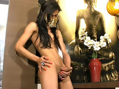 Playful fembboy strips and masturbates
