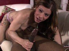 Hot Jasmine blows a big black cock