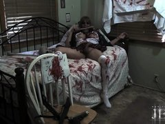 Cuffed zombie Jesse struggling