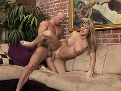 Sexy blonde shemale hard drilled