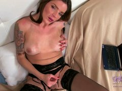 Tgirl Azul plays with her huge dick