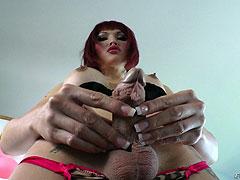 Redhead tgirl Eva Lin trying different dildos