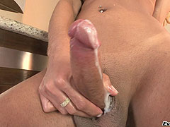 Blond shemale with big cock jerk off and cum
