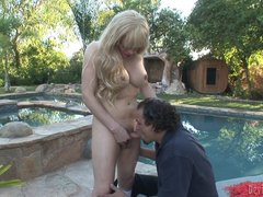 Busty TS Jesse fucks fat guy outdoors