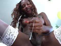 Big cock black shemale shtoots her cum