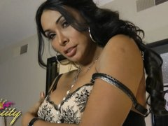 Super hot tgirl Vaniity stripping and playing with herself