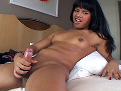 Cute brunette shemale jerk off her big cock