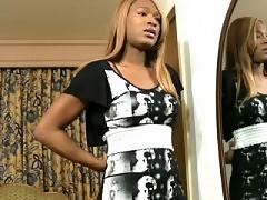 Ebony teen tranny shows her juicy shecock