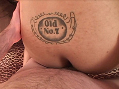 Sexy tattoed shemale pornstar riding bald guy