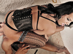 Submissive male obeys his ts mistress