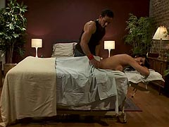 Shemale massage turns into a hot blowjob