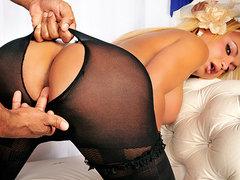 Hot blonde shemale in pantyhose hardcore