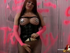 Tempting Wendy teasing in sexy corset & pantyhose