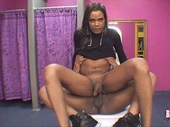 Hot ebony shemale rides her boyfriend