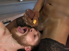 Ebony TS Kayla Biggs fucks her male toy