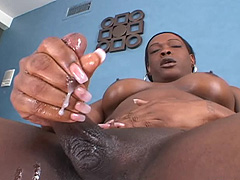 Hung black shemale jerk off and cum