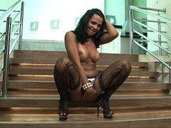 Tgirl Alessandra Ribeiro pleases her cock