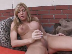 Blonde Tranny Shows Tits and Strokes Meat Stick